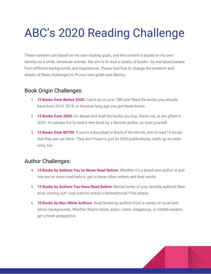 ABC 2020 Reading Challenge